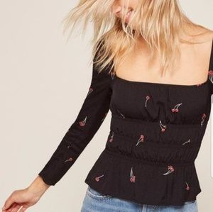 ISO!! Reformation Laurent top, black with cherries